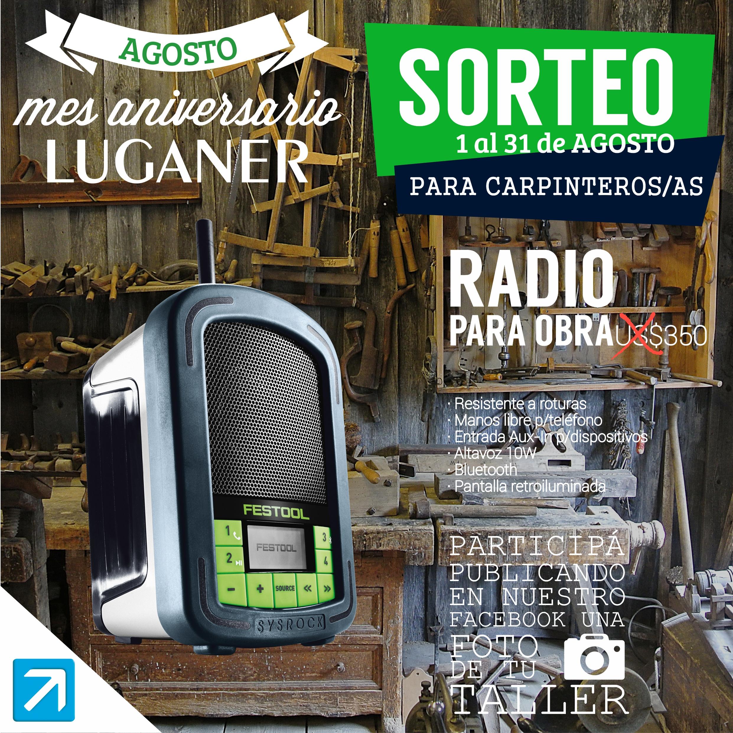 BASES DEL SORTEO – Una RADIO SYSROCK FESTOOL en tu TALLER.