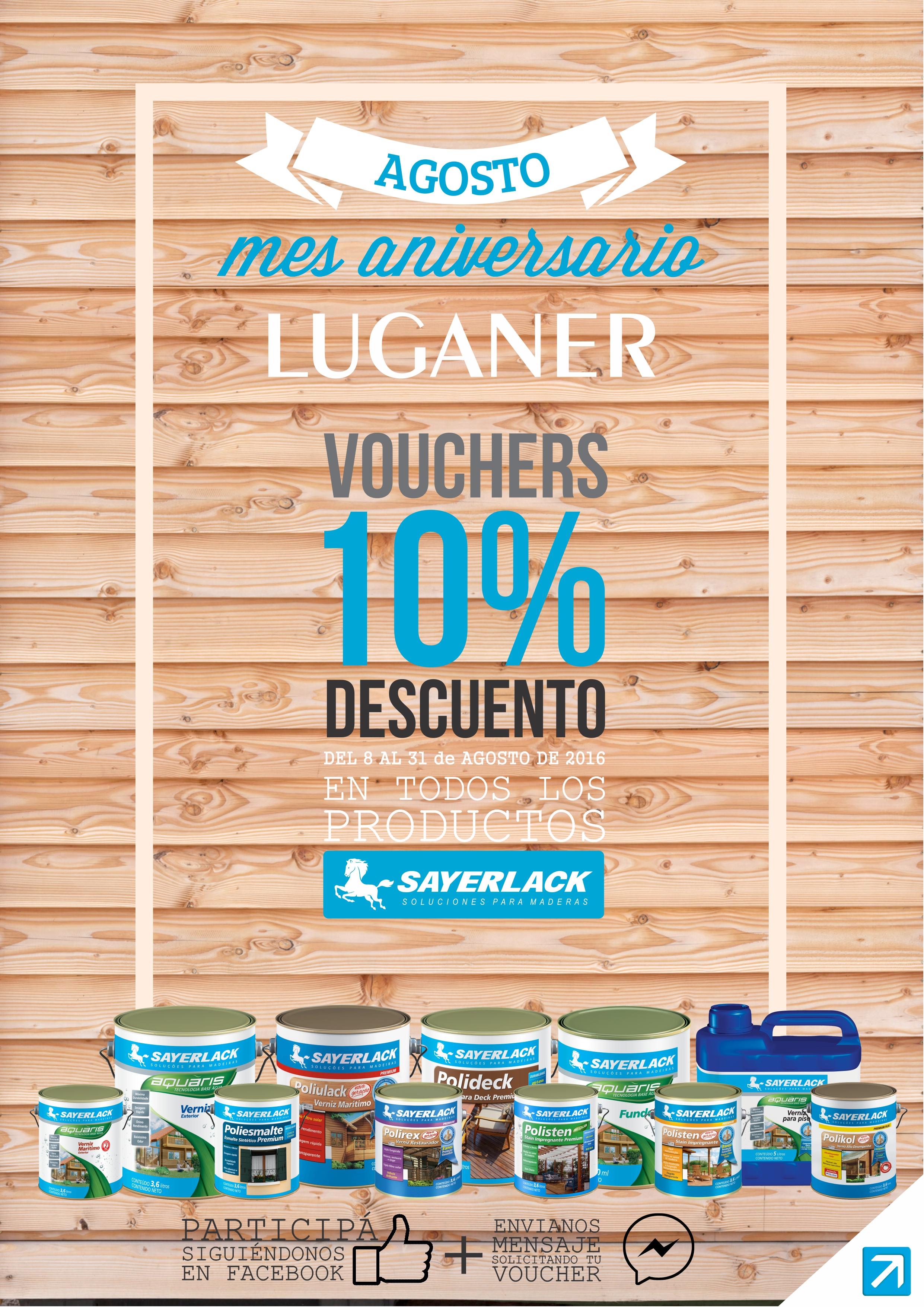 AGOSTO 10% DESCUENTO EN TODOS LOS PRODUCTOS SAYERLACK